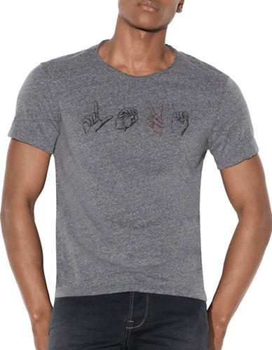 John Varvatos Star U.S.A. Love in Sign Language Graphic T-Shirt-GREY-X-Large