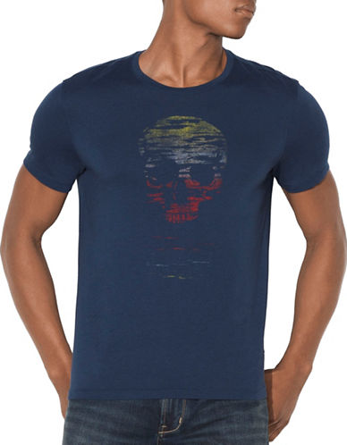John Varvatos Star U.S.A. Skull Sun Graphic T-Shirt-BLUE-X-Large