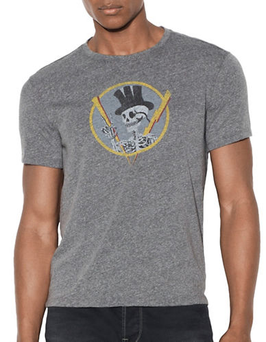 John Varvatos Star U.S.A. Top Hat Skull Graphic T-Shirt-GREY-XX-Large