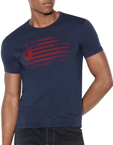 John Varvatos Star U.S.A. Peace Flag Graphic T-Shirt-BLUE-X-Large