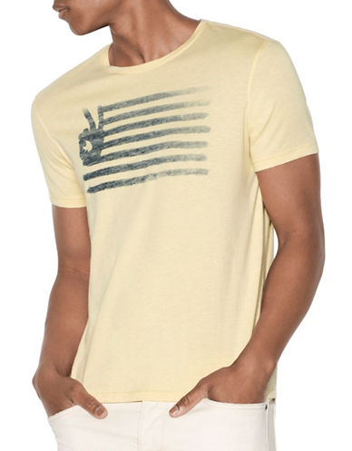 John Varvatos Star U.S.A. Peace Flag Graphic T-Shirt-YELLOW-X-Large