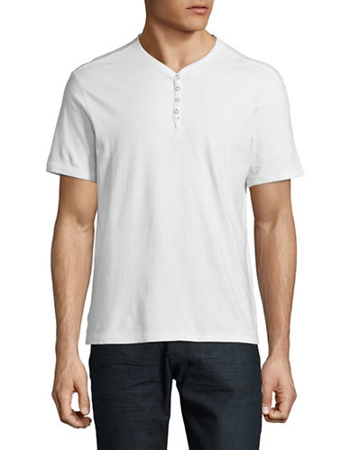 John Varvatos Star U.S.A. Washed Snap Eyelet Henley-WHITE-XX-Large