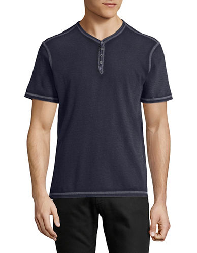 John Varvatos Star U.S.A. Washed Snap Eyelet Henley-MARINE BLUE-Small