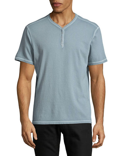 John Varvatos Star U.S.A. Washed Snap Eyelet Henley-BLUE-Medium