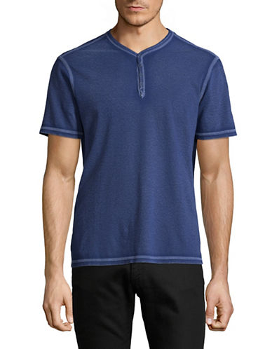 John Varvatos Star U.S.A. Washed Snap Eyelet Henley-NAVY-Medium