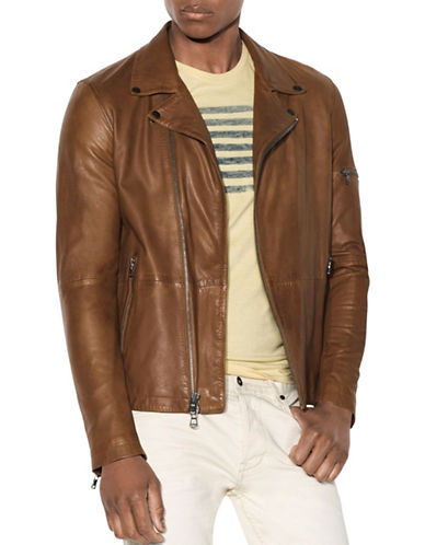John Varvatos Star U.S.A. Asymmetric Leather Moto Jacket-BROWN-Large