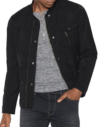 John Varvatos Star U.S.A. Zip and Snap Front Bomber-BLACK-Small