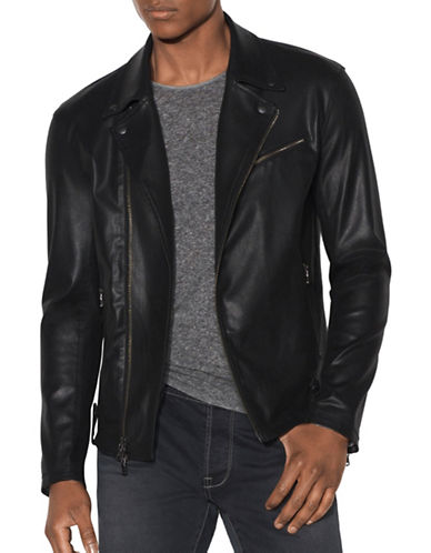 John Varvatos Star U.S.A. Asymmetric Zip Front Moto Jacket-BLACK-X-Large