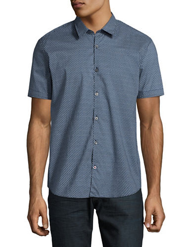 John Varvatos Star U.S.A. Patterned Short-Sleeve Shirt-BLUE-Medium