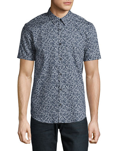 John Varvatos Star U.S.A. Mayfiled Slim Fit Floral Sport Shirt-GREY-Small