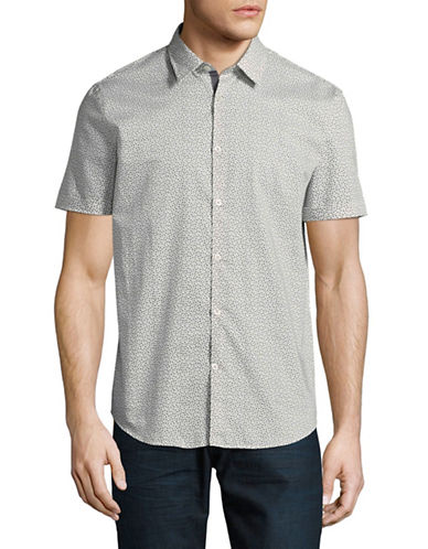 John Varvatos Star U.S.A. Slim-Fit Clover Print Sport Shirt-GREY-X-Large