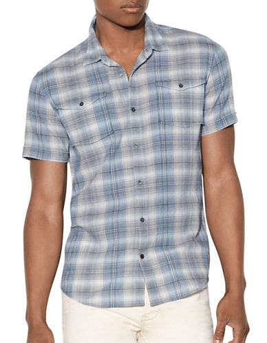 John Varvatos Star U.S.A. Plaid Cotton Sport Shirt-BLUE-X-Large