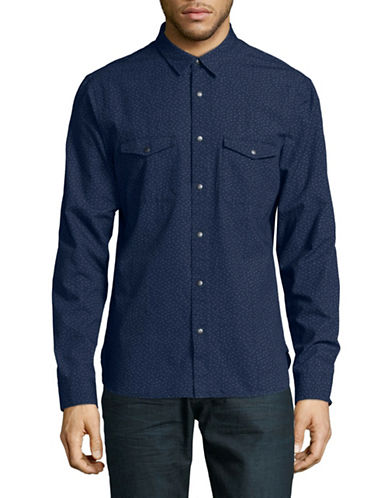 John Varvatos Star U.S.A. Patterned Snap-Front Shirt-BLUE-Small