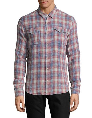 John Varvatos Star U.S.A. Plaid-Weave Snap-Front Western Shirt-RED-Medium