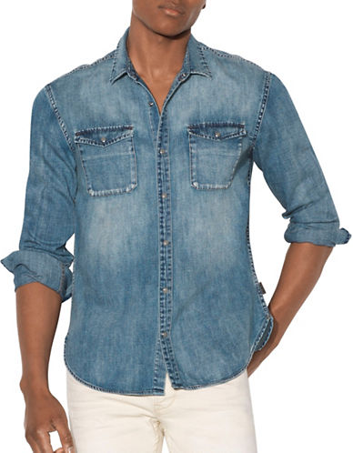 John Varvatos Star U.S.A. Washed Denim Sport Shirt-BLUE-Medium