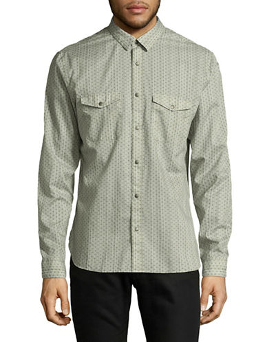 John Varvatos Star U.S.A. Patterned Snap-Front Shirt-GREY-Small