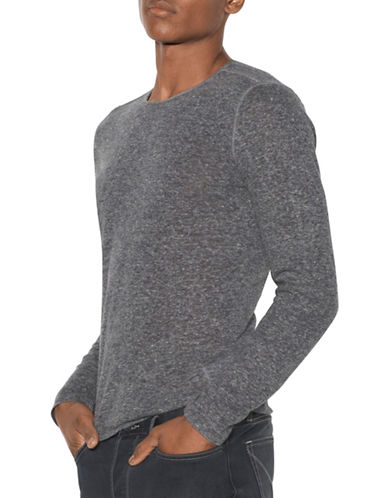 John Varvatos Star U.S.A. Linen Blend Crew Neck Top-GREY-X-Large