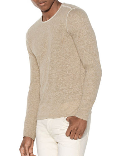 John Varvatos Star U.S.A. Linen Blend Crew Neck Top-BEIGE-Large