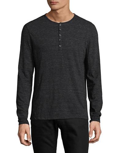 John Varvatos Star U.S.A. Melange Long Sleeve Henley-BLACK-Large