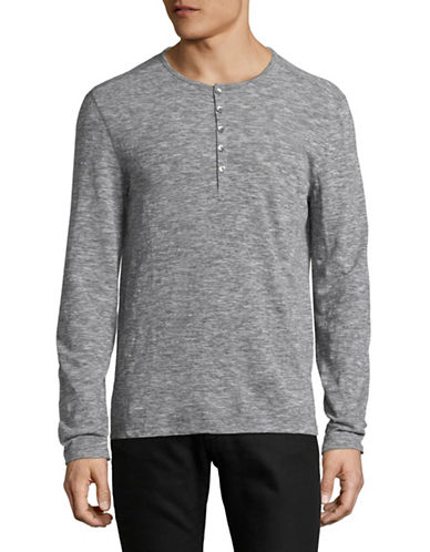 John Varvatos Star U.S.A. Melange Long Sleeve Henley-GREY-Large