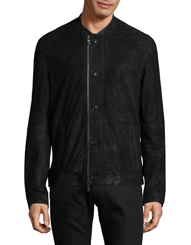 John Varvatos Star U.S.A. Suede Bomber Jacket-BLACK-Medium