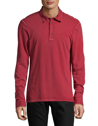 John Varvatos Star U.S.A. Vintage Wash Peace Cotton Rugby Polo-RED-X-Large