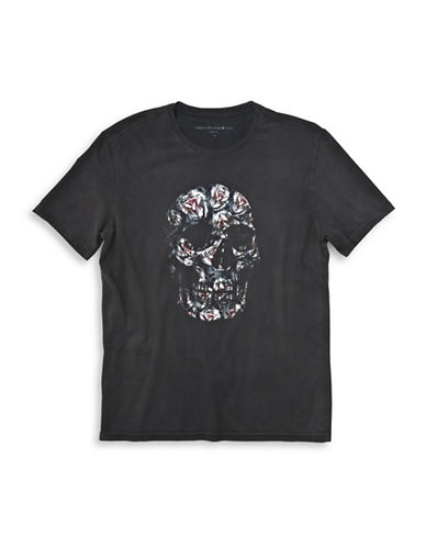John Varvatos Star U.S.A. Floral Skull Cotton Tee-BLACK-Small