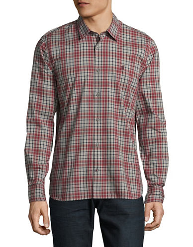 John Varvatos Star U.S.A. Plaid Sport Shirt-RED-Large