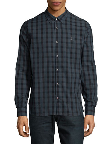 John Varvatos Star U.S.A. Mayfield Point Collar Cotton Sport Shirt-BLUE-X-Large