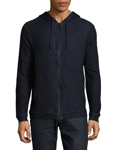 John Varvatos Star U.S.A. Zip-Up Cotton Hooded Jacket-BLUE-Small
