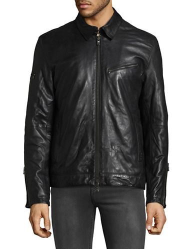 John Varvatos Star U.S.A. Leather Zip Jacket-BLACK-Large