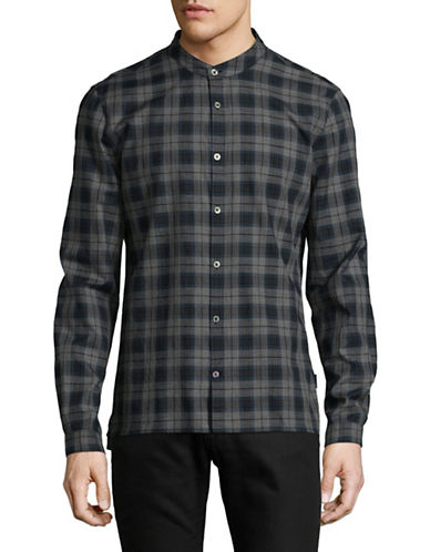 John Varvatos Star U.S.A. Plaid Cotton Sport Shirt-BLUE-Small