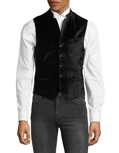 John Varvatos Star U.S.A. Velvet Textured Vest-BLACK-40
