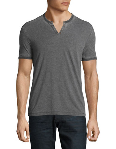 John Varvatos Star U.S.A. V-Neck Cotton Tee-GREY-XX-Large