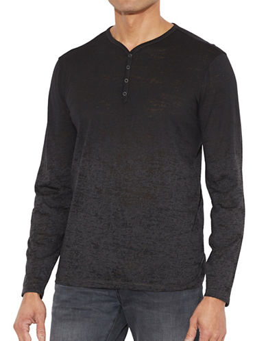 John Varvatos Star U.S.A. Burnout Henley Shirt-GREY-Large