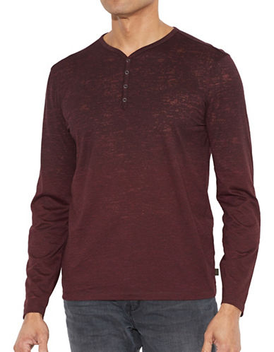John Varvatos Star U.S.A. Burnout Henley Shirt-RED-Medium