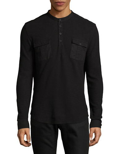 John Varvatos Star U.S.A. Waffle Knit Cotton Henley-BLACK-Small