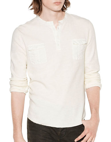 John Varvatos Star U.S.A. Waffle Knit Cotton Henley-NATURAL-Medium