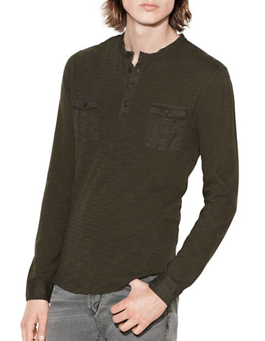 John Varvatos Star U.S.A. Waffle Knit Cotton Henley-GREEN-Medium