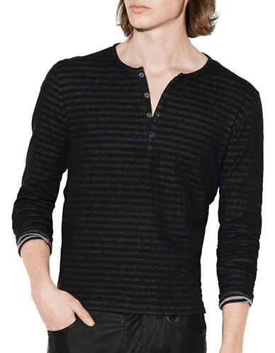 John Varvatos Star U.S.A. Long Sleeve Cotton Henley-BLACK-X-Large