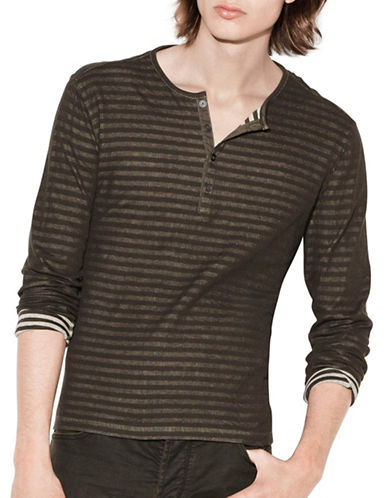John Varvatos Star U.S.A. Long Sleeve Cotton Henley-GREEN-X-Large