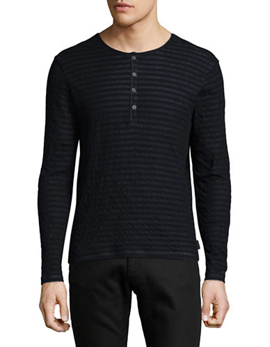 John Varvatos Star U.S.A. Long Sleeve Cotton Henley-BLUE-Large