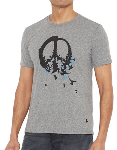 John Varvatos Star U.S.A. Peace Birds Tee-GREY-Medium