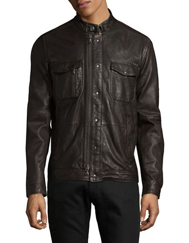 John Varvatos Star U.S.A. Leather Field Jacket-BROWN-X-Large