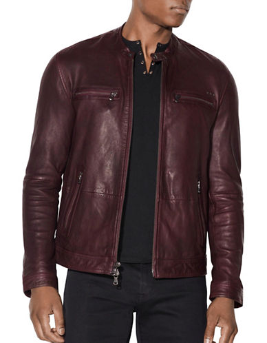 John Varvatos Star U.S.A. Zip Front Leather Jacket-BROWN-Large