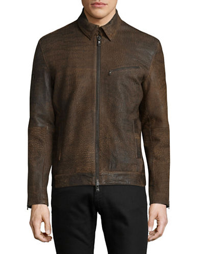 John Varvatos Star U.S.A. Front Zip Leather Jacket-BEIGE-Medium 89473772_BEIGE_Medium