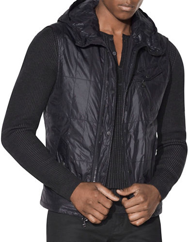 John Varvatos Star U.S.A. Quilted Hooded Bomber Jacket-BLACK-X-Large