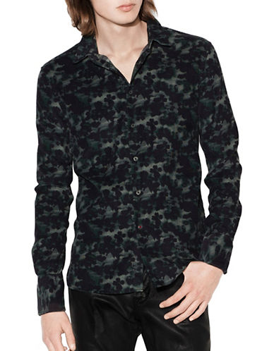 John Varvatos Star U.S.A. Floral Camouflage Sport Shirt-GREEN-Medium