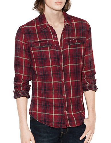 John Varvatos Star U.S.A. Plaid Snap Front Cotton Workwear Shirt-RED-Large