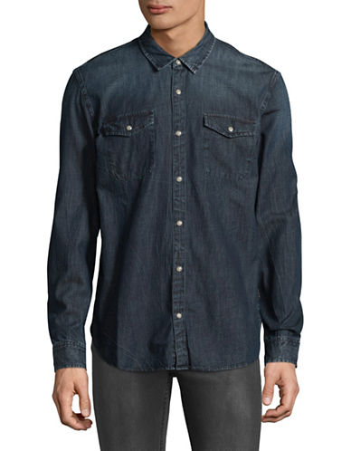 John Varvatos Star U.S.A. Snap Front Denim Sport Shirt-BLUE-Medium